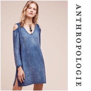 Anthropologie Open-Shoulder Chambray Shift Dress S
